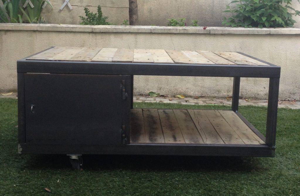 Table basse métal & bois sur mesure.