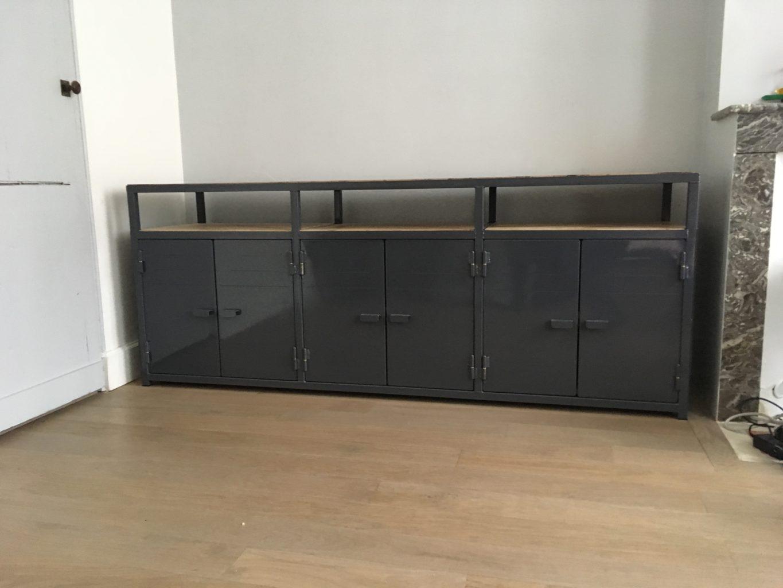 Meuble Sur Mesure Bordeaux meuble tv en métal et bois sur mesure - métallier bordeaux