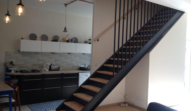 Escalier Droit métal & bois